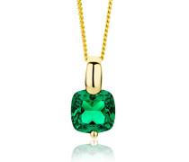 Damen Halskette 9 Karat (375) Gelbgold rhodiniert Smaragd grün