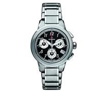 5094.9137Unisex Quarz Schweizer Uhr mit schwarzem Zifferblatt Chronograph-Anzeige und Silber Edelstahl Armband