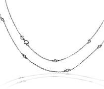 Damen-Halskette Snowdrop 925 Sterlingsilber 9 weiße Zirkonia Kettenanhänger Schmuck