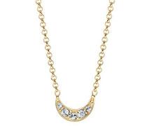 Damen-Kette mit Anhänger Halbmond 925 Sterling Silber vergoldet Swarovski Kristalle 45 cm 0107650416_45