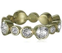 Damen-Ring Edelstahl,vergoldet, Kristall transparent