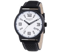 Herren-Armbanduhr XL Analog Quarz Leder 11110635