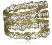 Damen-Ring Edelstahl, vergoldet, Kristall transparent