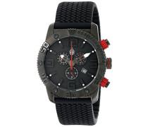 Burgmeister Herren-Armbanduhr XL Black Chrono Analog Quarz Silikon BM521-622E