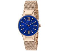 Damen Quarzuhr mit Blau Zifferblatt Analog-Anzeige und Rose Gold Legierung Armband AK/n2418cbrg