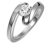Damen-Ring 925 Sterling Silber rhodiniert Glas Zirkonia Rhin weiß