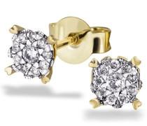 Damen-Ohrstecker 585 Gelbgold 20 Diamanten 0,22 ct. Ohrringe Brillanten Schmuck