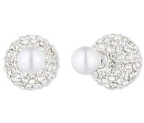 vorne Rückseite Fireball mit Perle Silber, weiß und Kristall Ohrstecker