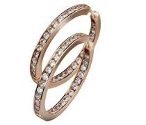 Damen-Creolen Sterling Silver 925 Silber teilvergoldet Zirkonia Rundschliff weiß - 273210198-1