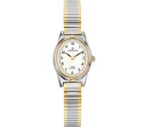 –642385Damen-Armbanduhr 045J699Analog weiß Armband Metall Zweifarbig