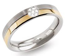 Boccia Damen-Ring Titanium Titan teilvergoldet Diamant (0.035 ct) transparent Brillantschliff Gr. 58 (18.5) - 0129-0658