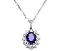 Damen-Halskette 925 Sterling Silber Brillanten, Saphir blau und Zirconia Anhänger 45 cm Kette