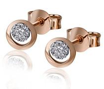 Damen-Ohrstecker 585 Rosegold 14 Diamanten 0,06 ct. Diamant-Ohrring Brillianten Rotgold