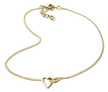 Damen Schmuck Fußschmuck Fußkettchen Herz Love Liebe Freundschaft Silber 925 Vergoldet Länge 25 cm