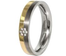Unisex-Ring Titan teilvergoldet Diamant (0.035 ct) transparent Brillantschliff