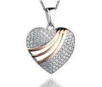 Damen Halskette 925 Sterling Silber Zirkonia 45 cm wei ZH-4842