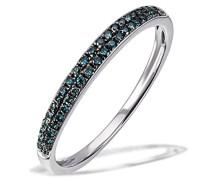 Damen-Ring Glamour 375 Weißgold rhodiniert Diamant (0.20 ct) grün Brillantschliff