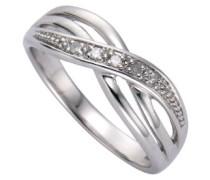 Diamonds by Ellen K. Damen-Ring 925 Sterling Silber rhodiniert Diamant 0.01ct weiß Gr.54 (17.2) 340270021-054