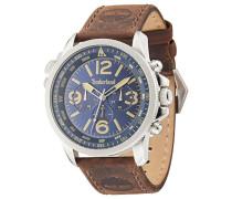 Timberland Campton Herren Armbanduhr mit Blau Zifferblatt Analog Display und dunkelbraun Lederband 13910JS/03