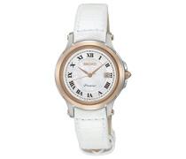 Seiko-SXDE42P2Damen-Armbanduhr-Quarz Analog-Armband Leder Weiß