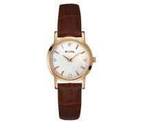 97P105 Damen Quarz-Armbanduhr mit Perlmutt-Analog-Anzeige, braunes Leder-Armband