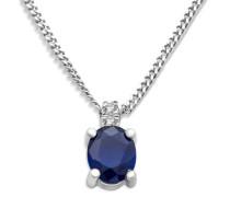 Miore Damen Halskette 9 Karat (375) Weißgold Saphir 45 cm blau SA9012N