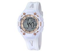 Unisex Armbanduhr Digitaluhr mit LCD Zifferblatt Digital Display und weißem Kunststoff Gurt k5666/1