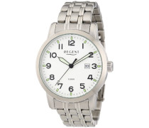 Regent Herren-Armbanduhr XL Analog Quarz Edelstahl 11150544