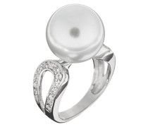 Damen-Ring 925 Silber rhodiniert Zirkonia weiß Rundschliff Synthetische Perle