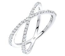Damen-Stapelring Wickelring 925 Silber Zirkonia weiß Brillantschliff