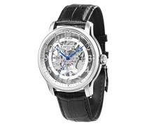 Longitude ES-8062-04 mechanische Herren-Armbanduhr, silbernes Zifferblatt mit Skelett-Anzeige, schwarzes Lederarmband