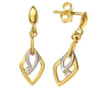 9 Karat (375) Gelbgold mit Zirkonia Weiß/Gold Ohrringe