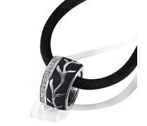 Damen Halskette Black Lack 925 Sterlingsilber 32 weiße Zirkonia Kettenanhänger Schmuck