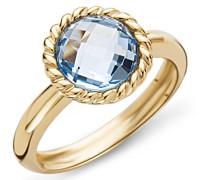 Damen-Ring 9 Karat ( 375 ) Gelbgold Topaz Stein 2.5 ct. Quarz blau Rundschliff