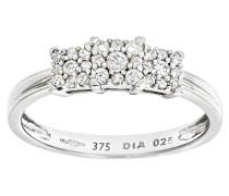 Damen-Ring 9 Karat 375 Weißgold Diamant 0,25 ct