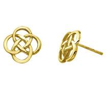 Sterling Silber und Gold Platte Ohrstecker Keltischer Offene Knotenmuster