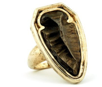 14 Karat vergoldet Schwarze Cocktail-Ring Metall, aufsteckbar, Motiv Arrowhead)