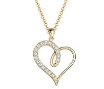 Damen Halskette mit Anhänger Herz Liebe Freundschaft Liebesbeweis 925 Sterling Silber Swarovski KristalleVergoldet silber 45 cm