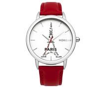 Morgan-m1232r Damen-Armbanduhr-Quarz Analog-Weißes Ziffernblatt-Armband Leder Rot