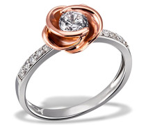 Damen-Ring Rosè 925 Silber teilvergoldet Zirkonia weiß Brillantschliff