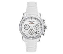 Sea Navigator Women'Quarz-Uhr mit weißem Zifferblatt Analog-Anzeige und weiße Lederband 134SWWWL