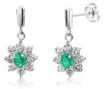 Damen-Ohrringe 9 Karat (375) Weißgold  2 Smaragde umrahmt von 12 Brillanten ca. 0,42ct Weiß/vs MA905EW
