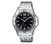 –mtp-1258pd-1aef–Collection–Armbanduhr–Quarz Analog–Zifferblatt schwarz Armband Stahl Silber