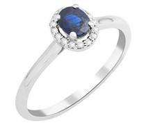 Damen Solitär-Ring, 9 Karat Weißgold, Saphir, MKW9064R6 T56