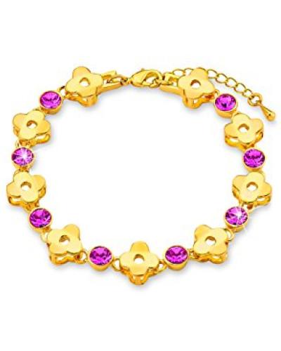 Damen-Armband 16+4cm längenverstellbar Blumen gelbvergoldet Swarovski Kristalle