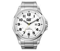 Cat Operator Herren Quarz Armbanduhr mit Silber Zifferblatt Analog-Anzeige und Silber Edelstahl Armband PU. 141.11.211