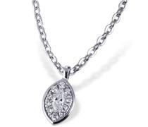 Damen-Halskette Glamour Eye 585 Weißgold 10 Brillanten 0,05 ct. SI/H 1 Diamant 0,06 ct. SI/H Kettenanhänger Schmuck Diamantkette