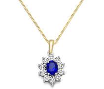 Damen Halskette 9 Karat (375) Bicolor rhodiniert Saphir blau