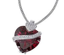 rote Damen-Herzkette 925 Sterlingsilber mit granat-farbenen Zirkonia Herz-Anhänger Schmuck