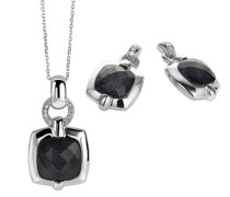 Damen-Set: Halskette + Ohrringe 925 Sterling Silber Zirkonia wei SET-5209